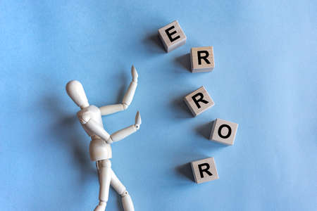 Error word inscription. Concept of failure and mistake. Fear of errors