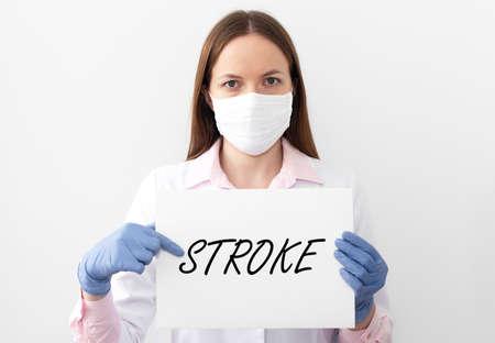 Stroke word, inscription. Heart attack, disease, healthcare