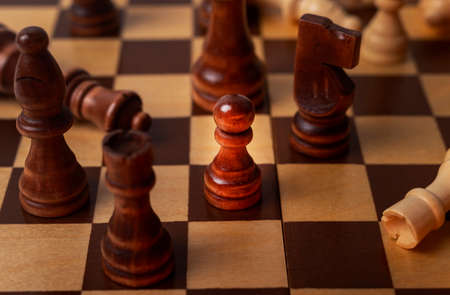 Pawn among other chess pieces, close up.