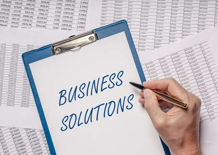 Business solutions text. Concept of consulting and solving problems.