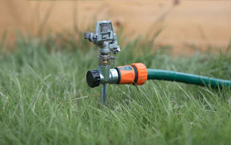 Lawn sprinkler in green grass switched off. Stock Photo