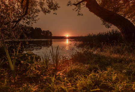 Sunset over water with reflection and sunbeams in nature in summer with trees and grass. Calm peaceful landscape with clear sky, hot sun beams and lake.
