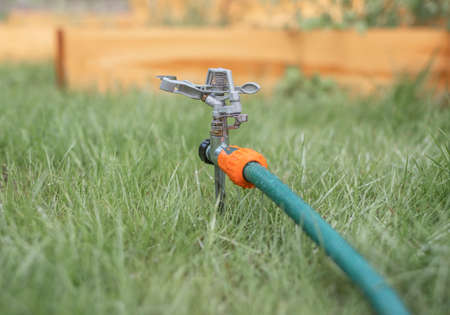 Lawn sprinkler in green grass turned off in summer. Stock Photo