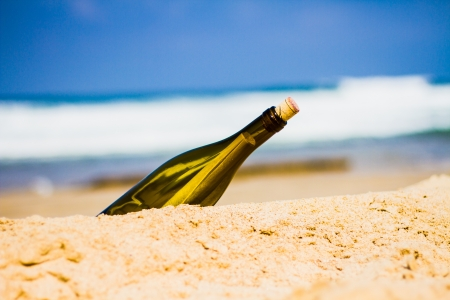 furlough: bottle on the shore Stock Photo