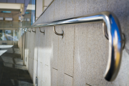 banisters: Beautiful stainless steel railings Stock Photo