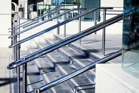 Beautiful stainless steel railings Standard-Bild