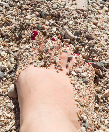 beautiful photos of female feet in the sand Stock Photo - 24028369