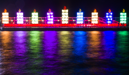 The Jewish holiday of Hanukkah. Menorah in the port of Tel Aviv.