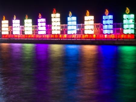 channukah: The Jewish holiday of Hanukkah. Menorah in the port of Tel Aviv. Editorial