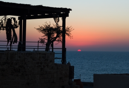 Beautiful photo of a sunset in Jaffa. Israel.