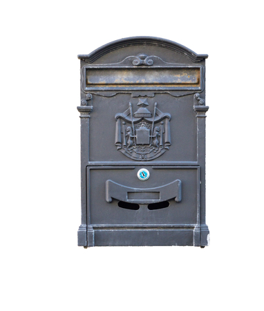 Beautiful old mailbox hanging on the wall . photo