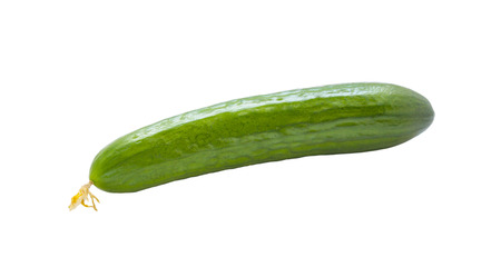 Beautiful photo of fresh cucumbers isolated on white background . photo