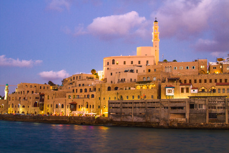 jewish houses: Beautiful photos of the evening Jaffa from the sea. Israel