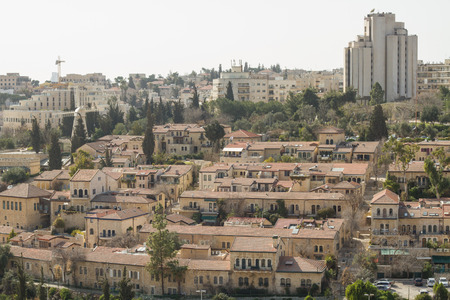 Beautiful photo panorama -  district Montifiori, Jerusalem , Israel. photo