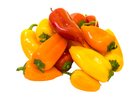 Photo of small sweet peppers isolated on white background. Standard-Bild