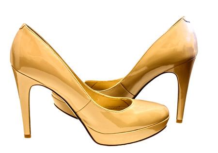 Beautiful photo of female shoes isolated on white background. photo