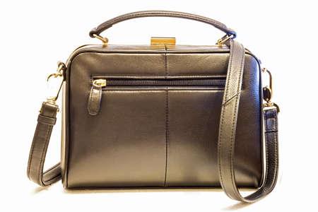 Black leather female handbag. isolated on white . Stock Photo - 27760338