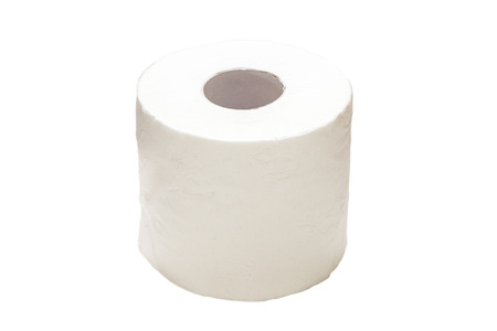 Beautiful photo toilet paper isolated on white background.