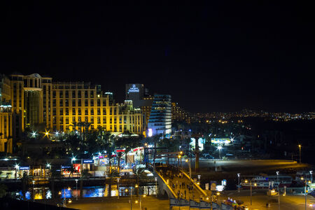 arava: View on the Aqaba gulf and Eilat city at the evening, Israel