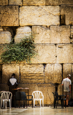 Beautiful photo at the Wailing Wall in the Old City of Jerusalem. Israel.