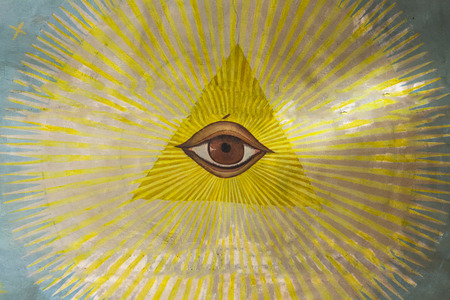 All-seeing eye on the ceiling of an Orthodox church in Jerusalem .