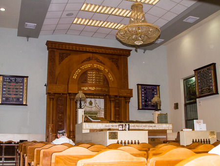 Tel-Aviv , Israel - September 8 . 2014: The interior of the synagogue Kipusit in Tel Aviv. Israel.Designated congregation and the altar.  Editorial