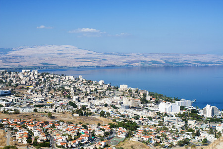 Tiberias is a city on the western shore of the Sea of Galilee photo