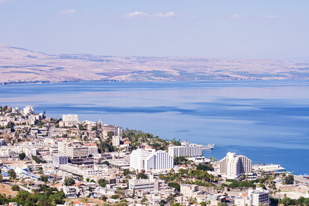 galilee: Tiberias , Israel - October 4 . 2014: Tiberias is a city on the western shore of the Sea of Galilee