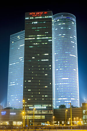 Tel-Aviv , Israel - November 12 . 2014 : Beautiful night view of Azrieli mall in the center of Tel Aviv. Editorial
