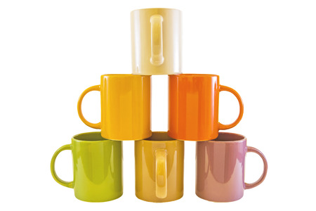 ours: Color cups isolated on a white background . Stock Photo