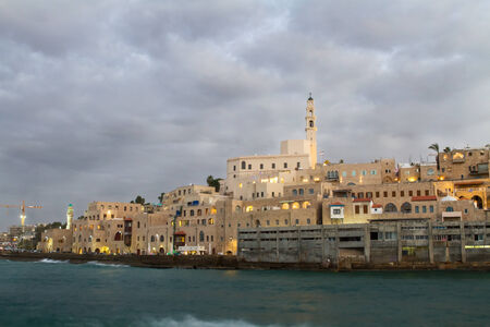 Beautiful photos of the evening Jaffa from the sea. Israel photo