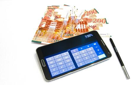 sheqel: Israeli New Sheqel and calculator on white background .