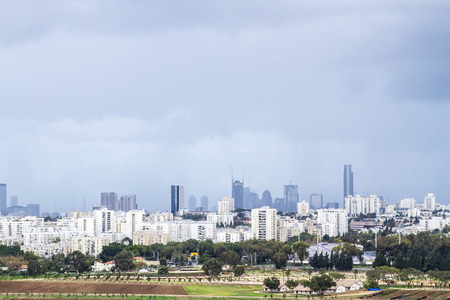 Tel Aviv and  Ramat Gan Skyline during a thunderstorm  - Panoramic shot