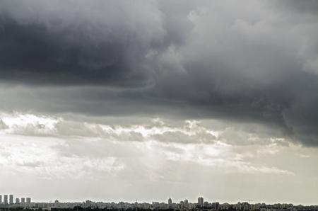 ramat aviv: Tel Aviv and  Ramat Gan Skyline during a thunderstorm  - Panoramic shot Stock Photo