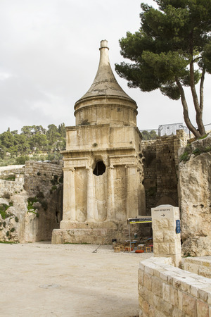ascribed: Yad Avshalom (Tomb of Absalom), an ancient monumental tomb in the Kidron Valley in Jerusalem. Traditionally ascribed to Absalom, the rebellious son of King David of Israel