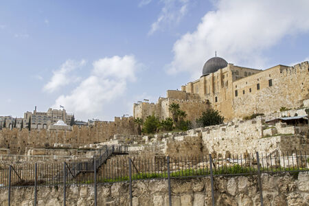 al aqsa: Southern Wall of Temple Mount  in Jerusalem. Dome of the Al-Aqsa Mosque . Israel . Stock Photo