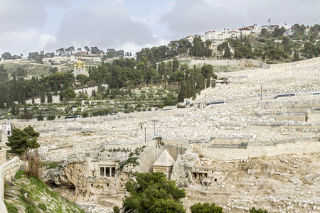 Mount of Olives in Jerusalem. Jewish cemetery, ancient tombs and church on the Mount of Olives. Israel.