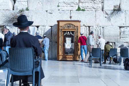wailing: Jerusalem , Israel - January 22, 2015 : Beautiful photo at the Wailing Wall in the Old City of Jerusalem. Praying at the Wailing Wall. Israel.