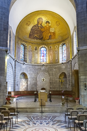 Jerusalem , Israel - January 06 . 2015 : Abbey of the Dormition in Jerusalem . View of the basilica and the central altar of the church.
