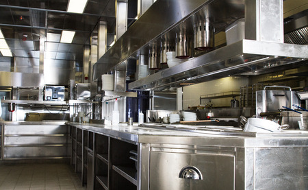 industrial kitchen: Professional kitchen, view counter in stainless steel . Stock Photo