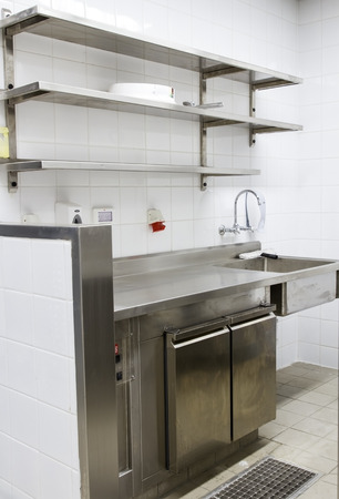 Professional kitchen, view counter in stainless steel . 写真素材