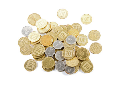 denominations: Coins of different denominations Israeli bank against white background . Stock Photo