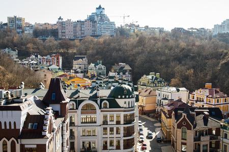elite: Vozdvizhenka elite district in Kiev, Ukraine . Top view on the roofs of buildings. Stock Photo