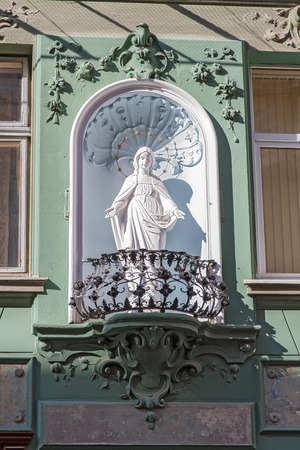 Lviv , Ukraine - March 21, 2015 :  Old Town . Monument Our Lady of Guadalupe.Located in a balcony . photo