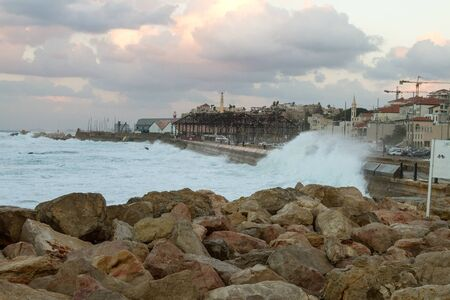 holyland: Beautiful photos of the evening Jaffa from the sea. Israel