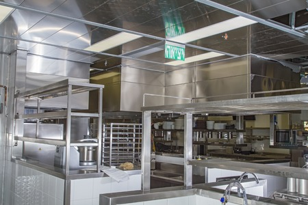 stainless steel: Professional kitchen, view counter in stainless steel . Stock Photo