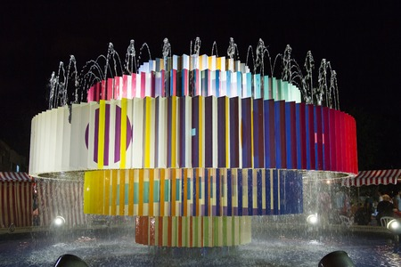 Colorful fountain at Dizengoff square in Tel Aviv, Israel.