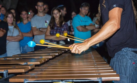 Hands of musician playing the marimba .