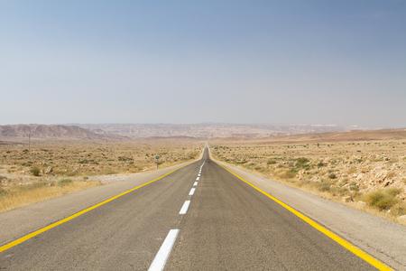 guard rail: Beautiful road in the desert, going beyond the horizon. Israel .