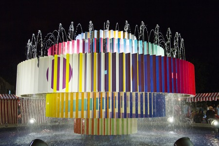 Tel-Aviv , Israel - June 26, 2015:  Colorful fountain at Dizengoff square in Tel Aviv, Israel. The Tel Aviv White Night (Laila Lavan) is one of the biggest cultural nights of the year in 'the city that never sleeps'.